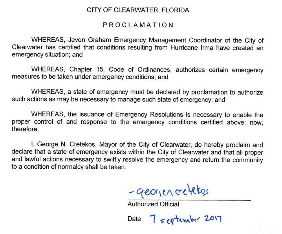 Clearwater Florida Emergency Situation Proclimation