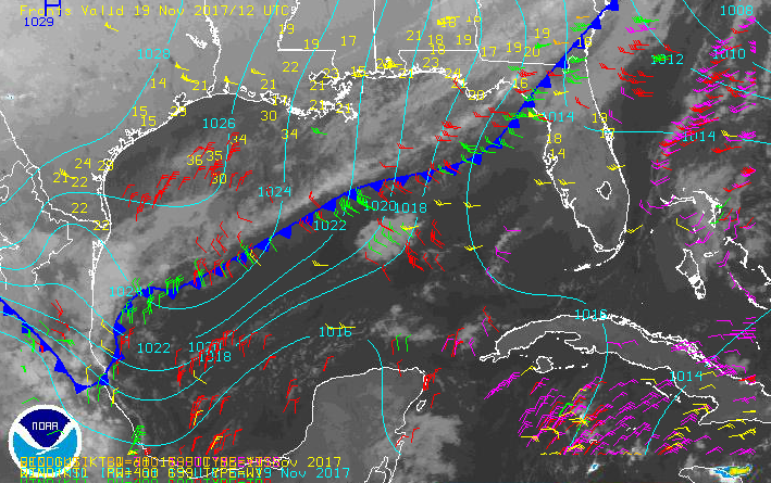 Frontal boundary, sea level pressure, low & mid level winds - 11:19:17